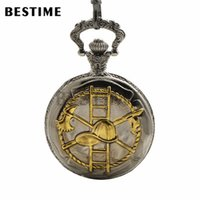 BESTIME Watch Antique Black Gold Pocket Quartz Watch Chain Full Hunter Case White Dial Mens Watch