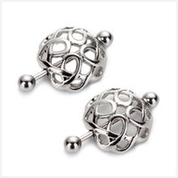 Wholesale Wholesale Pierced Nipple Rings - 2pcs lots hollow sexy Pierced Nipple Rings Bars 14G 316L Surgical Steel nipple shield body piercing