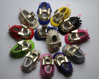 Wholesale Girls Mary Jane Shoes - 11 Color mary jane style moccasins PU baby tassels shoe Baby Infant walking Shoes Girls first walker tassel shoes B001