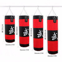 Wholesale Kick Boxing Bags - Wholesale-Fitness Empty Boxing Bag Gym Punching Sandbag Hollow MMA Hanging Kick Punch Bags Boxing Training Equipment Tool Red 70cm~100cm