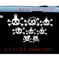 Wholesale Skull Wall Decals - Skull Family Car Decal   Sticker  8 skulls -Reflective  funny goodlooking Car Decal Vinyl Sticker wall funny stickers   reflective silver