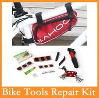 Wholesale Bike Repair Tool Kit Pump - Wholesale-High quality Original SAHOO 15 in 1 Cycling Bicycle Tools Bike Repair Kit Set with Pouch Pump Red Blue Black 3 Colors Choice