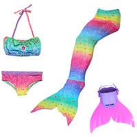 masque spandex personnalisé achat en gros de-Mignon 4pcs ensemble bébé filles nageant sirène Costume Outfit Bikini maillot de bain avec queue de sirène et Monofin Cosplay vêtements maillot de bain de vacances