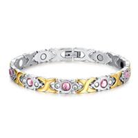 kızlar için mücevher bilezikleri toptan satış-2017 Kristal Gem Kadın Bilezik Paslanmaz Çelik Sağlık Enerji Manyetik Altın Moda Takı Lady Bilezik Hediye Kız Noel hediyesi için B807S