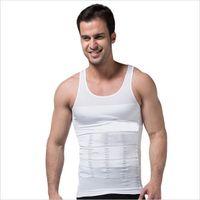 erkek şekillendirici iç çamaşırı toptan satış-Toptan-Erkek Elastik Zayıflama Vücut Şekillendirici Karın Belly Bel Kuşak Yelek T-Shirt Korse Bel Kuşak Shapewear İç Şekillendirme