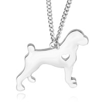 Wholesale Pit Bulls Animals - 2016 New Fashion necklaces Spring Cute Pit Bull Necklace With Heart Cartoon Dog Pendant Necklace Party Gifts for Dog Pet ID Tag