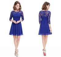 Wholesale Dresess Party - Elegant Women Autumn Party Dresess 2016 Royal Blue Lace Vintage chiffon Dress Vestidos Retro Swing Plus Size women Casual Clothing FS0454