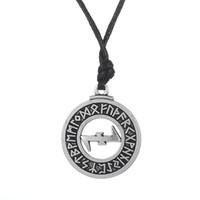 Wholesale Elder Futhark Runes - My Shape Adjustable Religious Jewelry Wolf Sangel Elder Futhark Rune Pendant Wiccan Necklace for Man and Woman