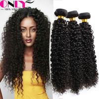 Wholesale Curly Kinky Hair Beautiful - Weave Beautiful Human Virgin Hair Peruvia Kinky Curl Hair Extensions Peruvia Inida Virgin Curly Hair Extensions 4 Bundles