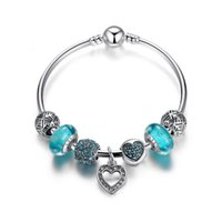 Braceletes de charme de estilo simples com bolhas azuis do lago Murano Glass Beads Pave Charms Heart Dangles Fashion DIY Bangle Bracelets BL155