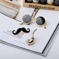 Wholesale Mustache Nails - Free Shipping Sale Items European Styles Men Brooches Glasses Mustache Master Pipe Sets Jewelry Gifts Nail Pin Brooch Black Enamel