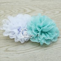 Wholesale Eyelet Laced Chiffon - 3.75 inch big rose petals flower with mesh lace fabric hair accessories, chiffon lace fabric flower eyelet scallop applique headwear flower