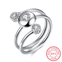 Wholesale Silver Rings Genuine Stones - Genuine 925 Sterling Silver Adjustable Ring Three-stone White Cubic Zirconia Wedding Anniversary Jewelry Gift Ring SVR019