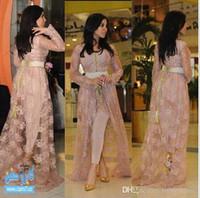 kim kardashian stil kleider großhandel-Kim Kardashian Märchen Stil Promi Kleider Spitze Abendkleider mit langen Ärmeln appliziert Hi-Lo Split Prom Kleider (Just Out Lace Coat)