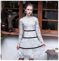 Wholesale Designer Style Long Sleeve Dresses - Brand Designer Women Autumn Lace Dress 2017 Fall Style Hollow Out Long Sleeve Floral White Party Cocktail Dress