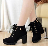 Wholesale European Fashion Lace Up Boots - 2017 New Autumn Winter Women Boots High Quality Solid Lace-up European Ladies shoes Leather Fashion Boots Free Shipping S008