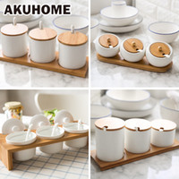 Wholesale Ceramic Salt Pot - Wholesale- Ceramic Seasoning Pot Wooden Cover Lid Salt Sugar Spice Pepper Storage Kitchen Accessories