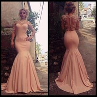 Wholesale Slimming Arabic Dress - Charming Jewel Neck Half Sleeves Mermaid Evening Dresses Pink Lace Appliques See Through Sexy Slim Arabic Zuhair Murad Evening Gowns 2016