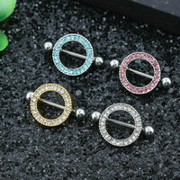 Wholesale Nipple Piercing Shield - 5 Color Stainless Steel Barbell Nipple Ring Sexy Circle Nipple Shield Bar Body Piercing Jewelry Nipple Piercing Rings Body Jewelry 12PCS