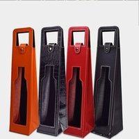 Wholesale Wine Bottle Bag Leather - Red Wines Leather Box High Grade Foldable Hollow Out Wine Bag Bottle Packaging Gift Boxes For Portable 13jx C R