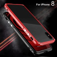 Wholesale Metal Back Bumper - Metal Bumper For iPhone 8 X Luxury Aluminum Frame Clear PC Back Plate Shockproof Defender Armor Protective Cover Case For iPhone 6 7 Plus