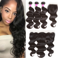 Wholesale Ombre Wavy - Cambodian Body Wave Human Hair Weaves Bundle Deals Body Weave Wet and Wavy Hair 3 Bundles with Lace Closure Frontal Bundles Natural Black