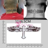 Wholesale Tattoo Sticker Love - 10pcs New Cross Wing Sweat Waterproof Temporary Tattoo Body Art Stickers Removable Tatoo#61690 sticker love