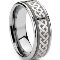 ingrosso anello celtico-8MM Size 7-15 Celtic Tribal Ring Stainless Steel Puzzle Irish Wedding Band di fidanzamento Dragon Cocktail Wrap
