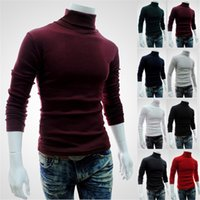 Wholesale Cotton Wool Turtlenecks - Fashion Men's Casual Long Sleeve Roll Turtle Neck Pullover Turtleneck Knit Sweater Slim Fit Tops New Casual Slim Free shipping