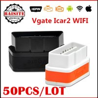 Wholesale Diagnostic Cable Iphone - Factory price VGATE ELM 327 WIFI iCar 2 OBD2 ELM327 iCar2 WI-FI VGATE elm327 wi-fi OBDii Diagnostic Interface Support for iPhone  Android PC