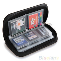 Wholesale Memory Card Case Pouch - Black SD SDHC MMC CF Micro SD Memory Card Storage Carrying Pouch Case Holder Wallet 1O5T