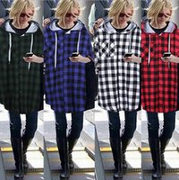 Wholesale jacket hoodie women outerwear - Women Hoodie Plaid Jacket Coat Sweatshirt Long Sleeve Slim Pullover Hooded Outerwear Tops Outwear Hoody 4 Colors OOA3184