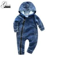 Wholesale baby cowboy clothing for sale - Group buy Soft Denim Baby Romper Newborn Hooded Jumpsuit Baby Boy Clothes Cowboy baby Zipper Jumpsuit Outfits Brief Unisex Kids Babies