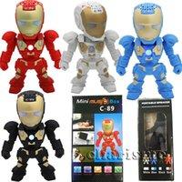 Wholesale Cartoons Robots For Wholesale - C-89 Bluetooth Mini Speaker Iron Man With LED Flash Light Deformed Arm Figure Robot C89 Portable Mini Wireless Subwoofers TF FM USB Card