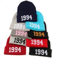 Wholesale 1994 Beanie Hat - 1994 autumn winter warm knitted woolen hat fashion hip hop hip-hop hat cap outdoor outdoor cold hat ski cap autumn and winter warm sets