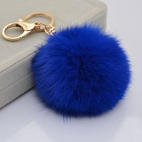 Wholesale Animal Plush For Bottles - Cute Genuine Leather Rabbit fur ball plush key chain for car key ring Bag Pendant car keychain