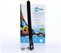 Wholesale Wholesale Tv Antennas - 25PCS Clear Tv key HDTV digital indoor antenna sleek slim design hidden behind TV Get broadcast tv for free