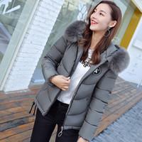 Wholesale Fur Collar Jacke - Women's Jackets 2018 Winter Pink Grey Beige Jacket Women Wadded Parkas Female Outerwear Slim Hooded Coat Long Cotton Padded Fur Collar Jacke