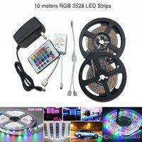 elektrik şeritleri toptan satış-10 M 12 V RGB LED Şeritler SMD 3528 Tatil Reklam Dekorasyon Noel Aydınlatma + 24 tuşları IR RGB Kontrolör + 110 V 220 V 3A Güç Kaynağı
