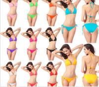 Wholesale Sexy Bra Sets Wholesale Europe - 2016 women split sexy Bikini set women swimsuits Sexy lingerie Ladies Sexy bra sets Europe and America swimwear free shipping