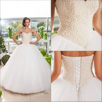 Wholesale Anna Ball - 2017 New Designer Sweetheart White Tulle Pearl Lace Up Anna Campbell Plus Size Ball Gown Wedding Dress