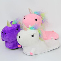 3 cores Unicorn Plush Slippers Unicórnio Meio calcanhar Warm Household chinelos de inverno para Unisex Big Children Shoes 2pcs / par CCA7480 60pairs