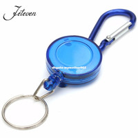 Wholesale Keychain Id Card Holder - Hot Mulitifunctional Multicolor Badge Reel Retractable Keychain Recoil Yoyo Ski Pass ID Card Holder Keyring Key Chain Steel Cord