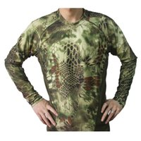 Wholesale Breathable Elastic Quick Drying Man Outdoor Tactical Camouflage Tight Speed Dry Combat Tactical Long Sleeve T Shirt men s Tee