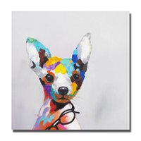 Wholesale cheap paintings for sale - Hand painted cheap modern oil paintings on canvas pet dog art picture modern living room wall decor
