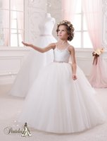 online Shopping Princess Ballgown Blue Wedding Dress - 2016 Girls Communion Dresses with Spaghetti Neckline and Beaded Sash Pleated Tulle Ballgown Little Bride Gowns with Lace Up Back