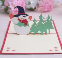 origami 3d pop up presente venda por atacado-10 pcs boneco de neve artesanal kirigami origami 3d pop up cartões convite cartão postal para o aniversário da festa de natal presente