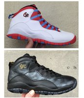 Wholesale Box Ds - Men 10s NYC City Pack Basketball Shoes Black Metallic Gold City Pack 10s Chicago Flag Charlotte Hornets NYC DS Sports Sneakers With Box