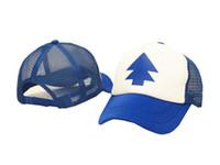 Wholesale Pine Tree Prints - New Curved Bill BLUE PINE TREE Dipper Gravity Falls Gorras planas Cartoon Hat Cap Trucker Outdoor Travel