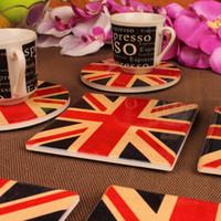 Wholesale Square Ceramic Cup - Wholesale- Creative British style ceramic square round coasters retro Union Jack flag United States nostalgic round table slip Cup mat pad